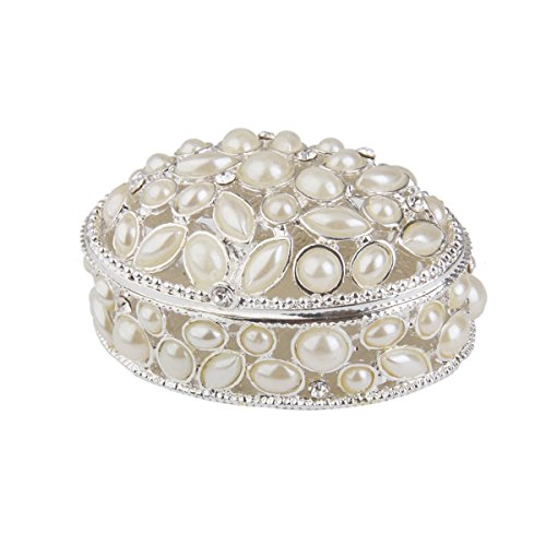 TINKSKY Faux Pearl Embellished Oval Jewelry Gift trinket Box Gift For Women or Gifts For Mothers - Size (Oval Faux Pearl)