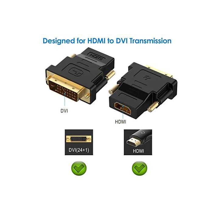 41gaBGfBquL Haz clic aquí para comprobar si este producto es compatible con tu modelo No es compatible con 144Hz. El adaptador HDMI-DVI bidireccional es una gran solución para la conexión de un ordenador con puerto DVI a un monitor, HDTV o proyector con puerto HDMI, o desde un ordenador, reproductor de Blu-ray, receptor de TV o consola de juegos con HDMI puerto a un monitor con puerto DVI. Se requiere un cable HDMI (se vende por separado) Conveniente paquete de 2 HDMI a DVI (24+1) adaptadores para su uso en el hogar y continuar el camino para las conexiones de monitor oficina o proyector. Nota: compatibles con AMBOS DVI (24+5) hembra y DVI (24+1) hembra