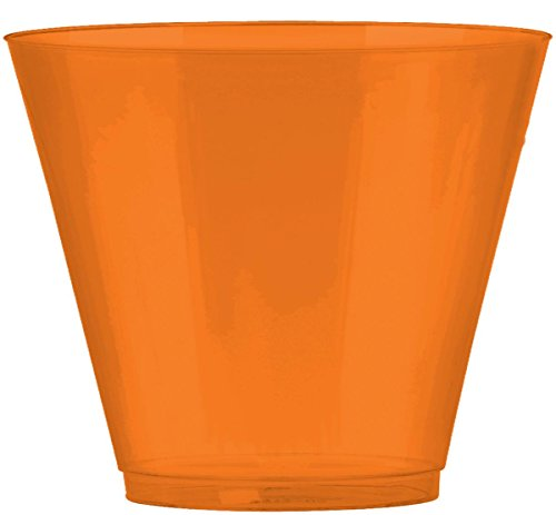 Amscan Big Party Pack Peel Plastic Cups, 9 oz., Orange 72 count