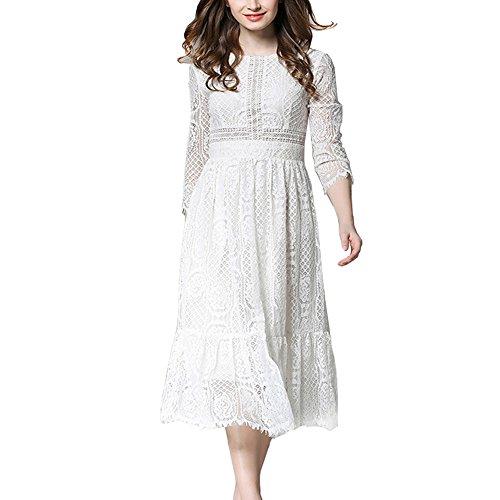 いくつかのテクスチャーヒットHAPPYJP レースワンピース 上品 優雅 ドレス 結婚式 七分袖 フレア フリル プリーツ ロング丈 ミモレ