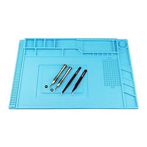 Magnetic Heat Insulation Silicone Mat Repair Kit, Including Heat Resistant Maintenance Mat, Anti-static Tweezers and Screwdrivers for Soldering Iron, Phone and Computer Repair (17.79''11.69'')