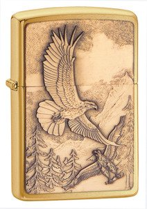 Zippo 20854 Where Eagles Dare Brushed Brass Pocket Lighter