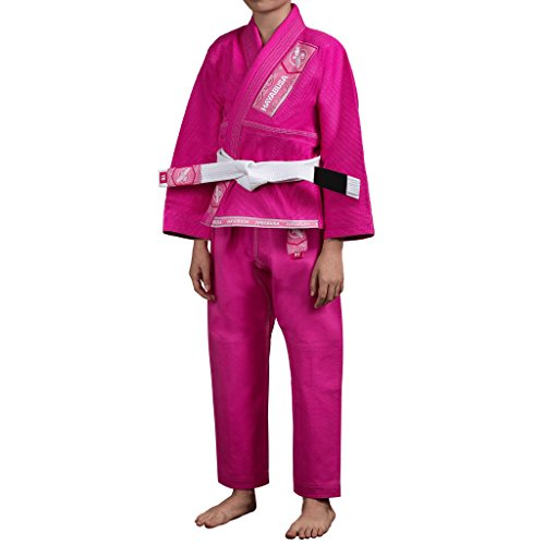 NEW Hayabusa Gold Weave Youth Brazilian Jiu Jitsu Gi, BJJ Gi (Pink, Y1)