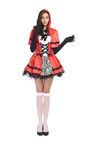 [Bulacker Halloween Little Red Riding Hood Role Play Fairytale Costume Set,red] (Cute Easy Group Costumes Ideas)