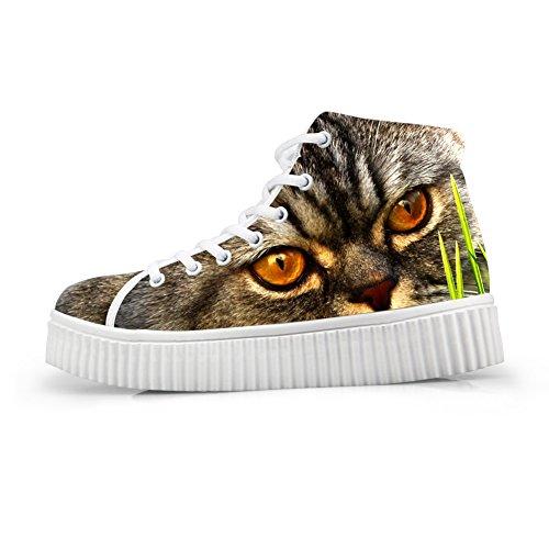 HUGSIDEA High Sneakers Shoes Platform Fashion Print Top Face Women Cat Face Cat 54 OWA6rcOwq