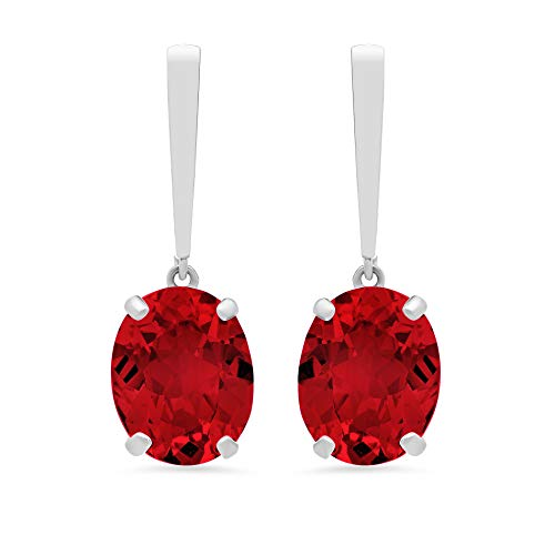 14k White Gold Solitaire Oval-Cut Created Ruby Drop Earrings (10x8mm)