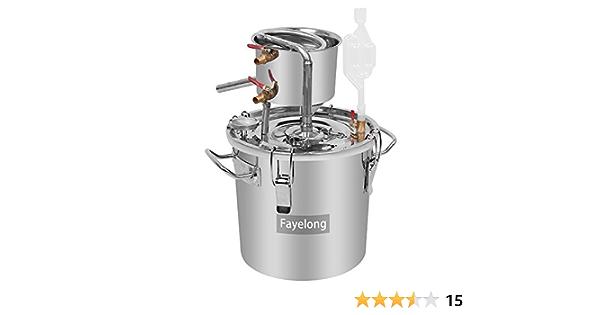 FayeLong - Kit completo para destilación casera: Alambique/Destilador con serpentín y termómetro, de acero inoxidable, para la destilación de agua, ...