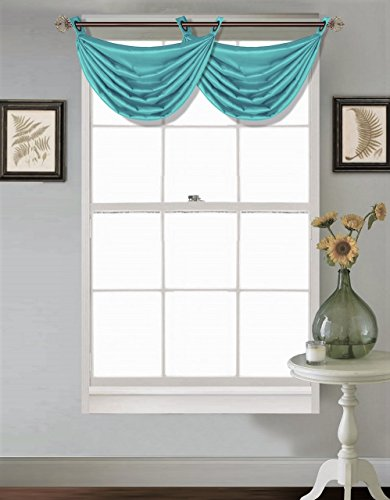 GorgeousHome (V24) 1PC Solid Turquoise Aqua Faux Silk Versatile Multi Use Luxury Antique Grommet Window Valance Topper Waterfall Swag Treatment 55