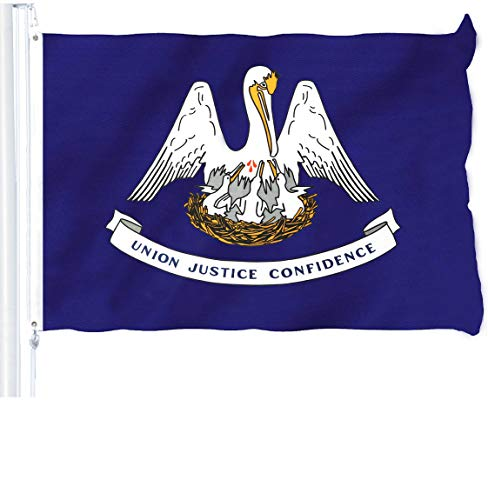 G128 - Louisiana State Flag 3x5 ft Printed Brass Grommets 150D Quality Polyester Flag Indoor/Outdoor - Much Thicker and More Durable Than 100D and 75D Polyester
