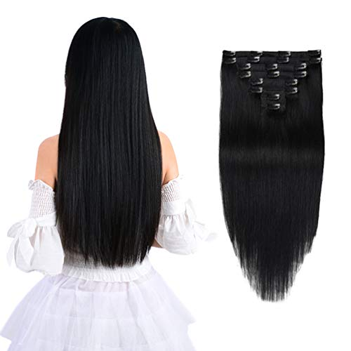 12 Remy Clip in Hair Extensions Human Hair Black for Women Beauty - Long Silky Straight 8pcs 20clips Real Hair Extensions Clip In Human Hair (12 inch 100g #1 Jet Black)
