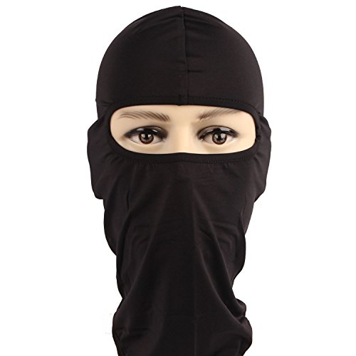 Rioriva Cycling Lycra Balaclava Neck Hood Full Face Mask Outdoor Motorcycle Ski Black (Lycra-black),One Size,BF-09