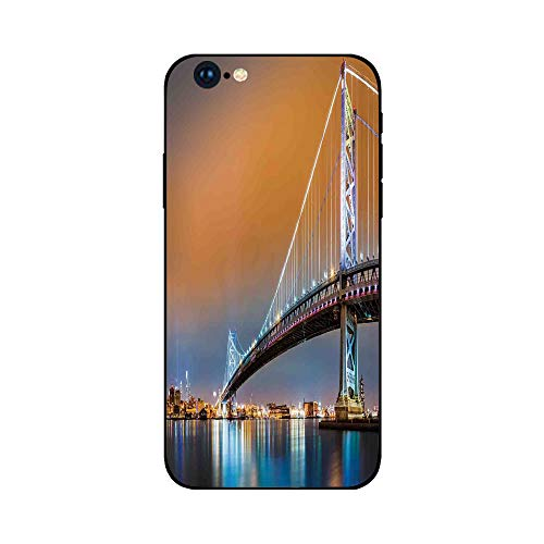 Glass Camden (Phone Case Compatible with iphone6 Plus iphone6s Plus mobile phone protecting shell Brandnew Tempered Glass Backplane,Apartment Decor,Ben Franklin Bridge and Philadelphia Skyline Viewed from Camden Ac)