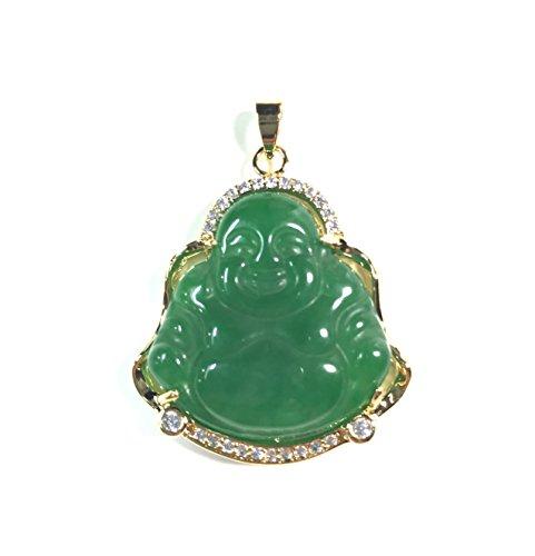 18k yellow Gold Plate Green JADE jadeite Pendant Buddha Chinese religion God Necklace Diamond Imitation BB00286615AA