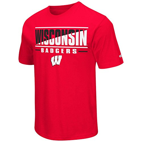 Colosseum NCAA Men's -Big and Tall-Two Face T-Shirt-Wisconsin Badgers-Red-2XL Big
