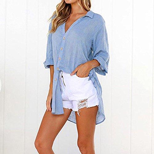 Le Donna Eleganti Casual T Neck Ningsun V Sciolto Lunghe Moda Shirt Blu Tops Casuale Cotone Maniche Top Vestito Camicetta Pulsante Camicia Signore da Lunga pwEzSwBq