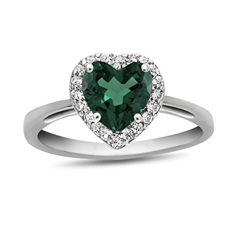 Finejewelers 10k 6mm Heart Shaped Simulated Emerald with White Topaz accent stones Halo Ring Size 8 by Finejewelers