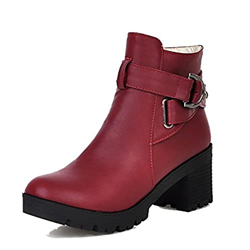 Women's Solid Kitten-Heels Round Closed Toe PU Zipper Boots Red 41