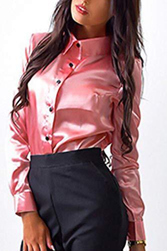 Camicetta Camicia Rosa al Donne Formale in Raso Simgahuva Maniche A Lunghe Massimo dPqC87w
