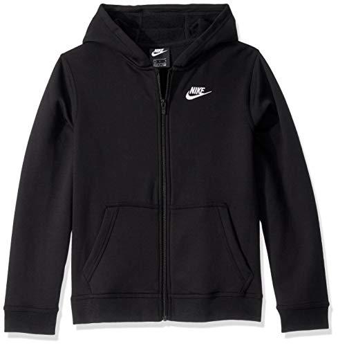 Nike Boy's NSW Club Full Zip Hoodie, Black/Black/White, X-Large (Nike Boy Coat)