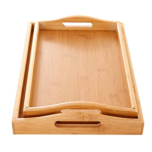 Hemsta Healthy Bamboo Serving Tray With Handle