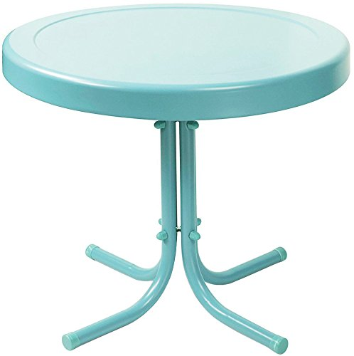 Crosley Retro Metal Patio Side Table in Caribbean Blue