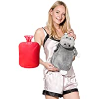 Peterpan Transparent Classic Rubber Hot Water Bottle with Animal Cover (Red)