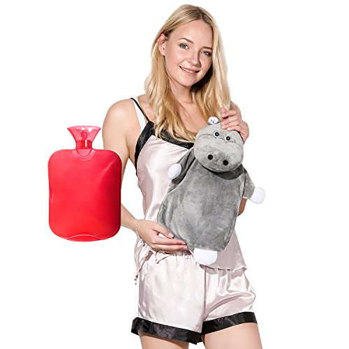 Peterpan Transparent Classic Rubber Hot Water Bottle with Animal Cover,2 Liter Hot Water Bag / Ice Bag,Red (Water Hot Ice And Bottle)