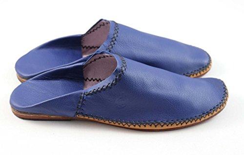 ChiCies Babouche Aus Marokko - Herren Hausschuhe Aus Leder Handarbeit Blau