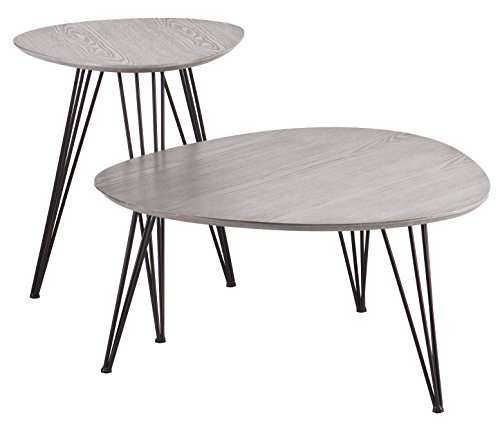 Bannock Coordinating Accent Tables - Set of 2 - Matte Gray Top w/ Black Metal Frame