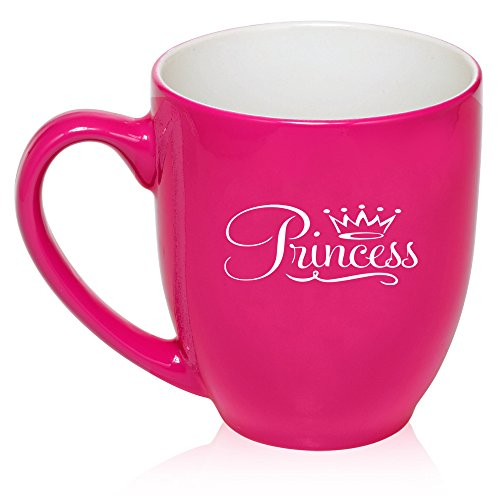 (16 oz Large Bistro Mug Ceramic Coffee Tea Glass Cup Princess Fancy (Hot Pink))