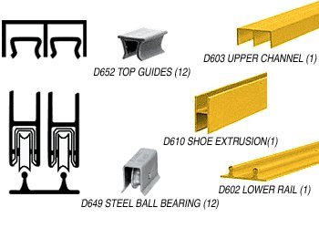 CRL Gold Anodized Economy Low Profile Showcase Sliding Track Assembly D603 Upper & D602 Lower Track with Steel B.B. Wheels - 12 ft - Showcase Assembly Sliding Track