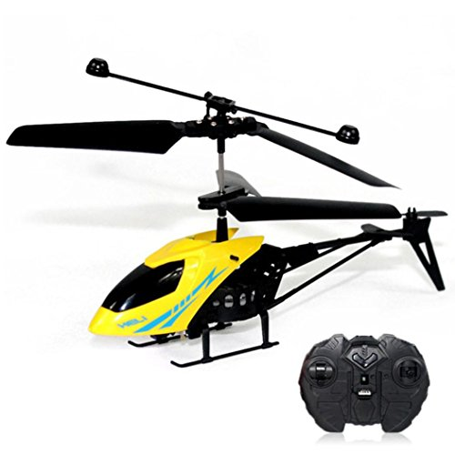 E-SCENERY Mini RC 2CH Metal Helicopter, Micro 2 Channel Radio Remote Control Aircraft with Night Light and USB Rechargeable 3.7V 75mAh Lithium Battery ()