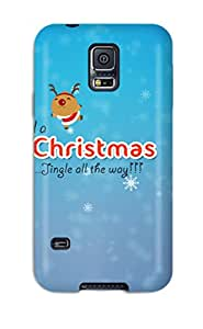 New Style Premium Protection Merry Christmas Jingle Bells Case Cover For Galaxy S5- Retail Packaging