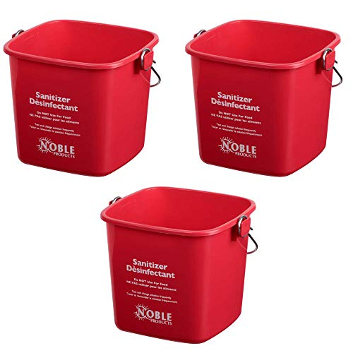 Pail Red Kleen - Small Red Sanitizing Bucket - 3 Quart Cleaning Pail - Set of 3 Square Containers