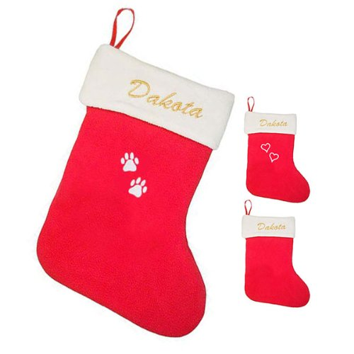 (LuckyPet Custom Embroidered Holiday Pet Stocking - Plush Fleece Stocking With Your Pet's Name and Choice of Hearts or Paws.)