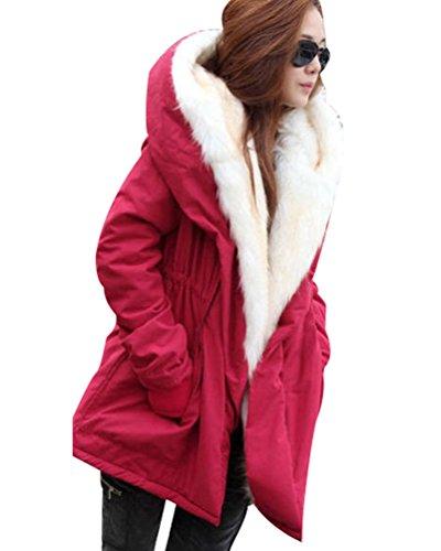 Señora Cazadoras Militar Invierno Sintetico Anorak Acolchado Rojo Dama Largos Parka para Abrigo Chaquetas con Cordón Mujer Largas Parkas Chica Abrigos Chaquetones Pelo Capucha ZUUTPx