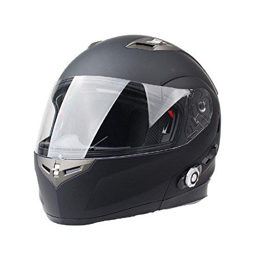 FreedConn Bluetooth Motorcycle Helmets Integrated Modular Flip up Dual Visors Full Face Built-in Bluetooth Intercom Communication Range 500M FM Radio (Matte Black,Large)