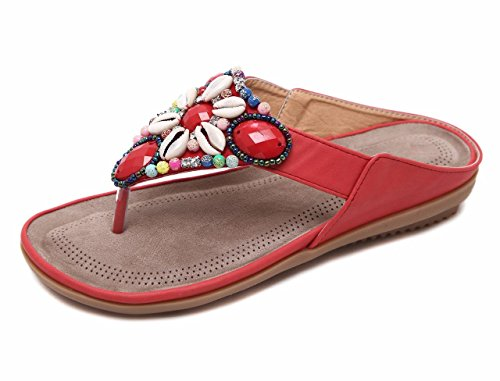 - Jiu du Women's Cute Floral Rhinestone Beaded Thong Summer Flats Flip Flop Sandals Red PU Size US9 EU42
