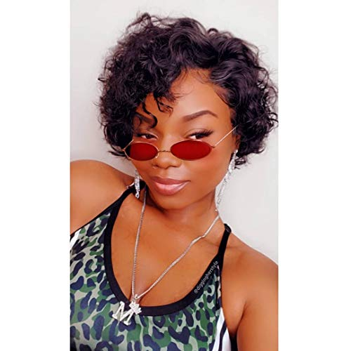 Eayon Hair 13x6 Short Curly Bob Wigs Human Hair Brazilian Virgin Preplucked Pixie Cut Bob Lace Front Wig Natural Color