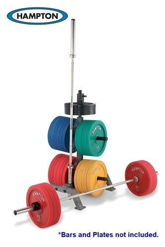 International Bumper Plate Rack with 2 International Bar Holders by Hampton Fitness