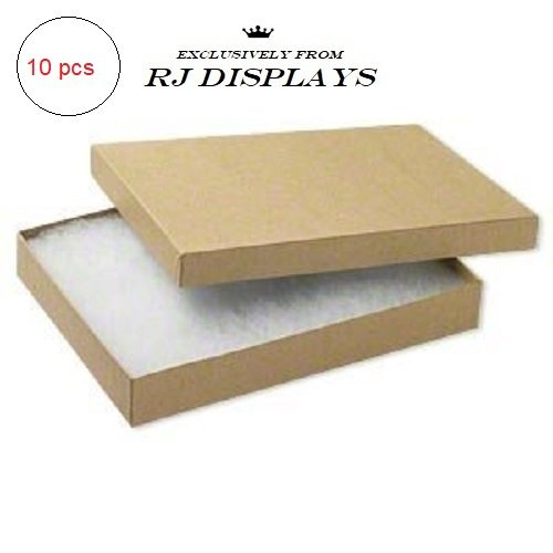 Foil Jewelry Gift Boxes - 10 Pack Cotton Filled Kraft Color Jewelry Gift and Retail Boxes 5.25 X 3.75 X 1 Inch Size