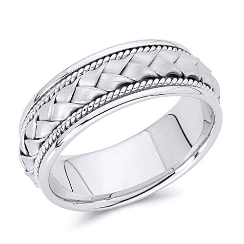 - Wellingsale 14k White Gold Polished Satin 8MM Handmade Braided Rope Comfort Fit Wedding Band Ring - size 11