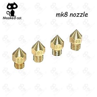 Amazon.com: GIMAX 5 piezas MK7 MK8 Boquilla 0.2 0.3 0.4 ...