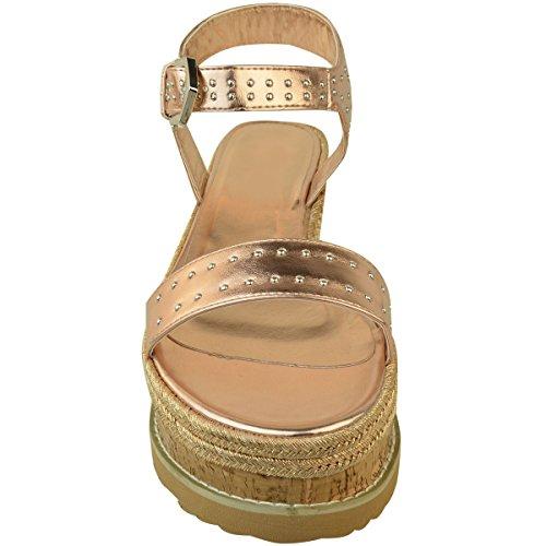 Ladies Espadrilles High Stud Black Metallic Shoes Thirsty Flatform Fashion Gold Womens Wedge Rose Sandals Summer vWcqTc4E86