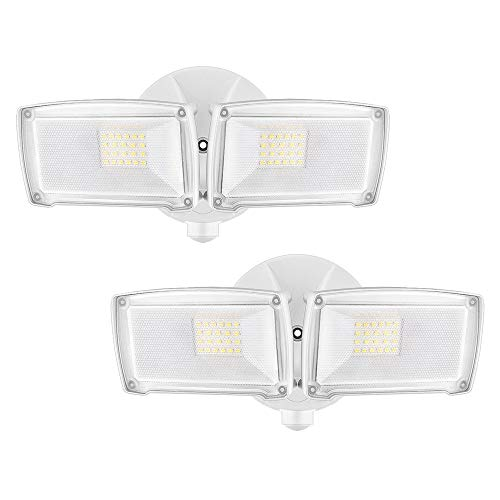 LEPOWER 2500LM 2 Pack LED Security Light, 22W Super Bright Outdoor Flood Light, ETL- Certified, 5500K, IP65 Waterproof, 2 Adjustable Heads for Entryways, Stairs, Yard and Garage(White Light)