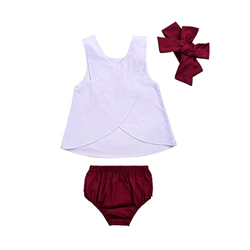 Red White And Blue Outfits (Toddler Baby Girls White Tank Vest Top Cross Back+Wine Ruffle Shorts+Headband 3Pcs Outfits Set (6-12 Months, A))