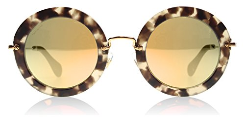 Miu Miu Women's Round Sunglasses, Beige Tortoise/Rose Mirror, One - Miu Miu Sunglasses Round