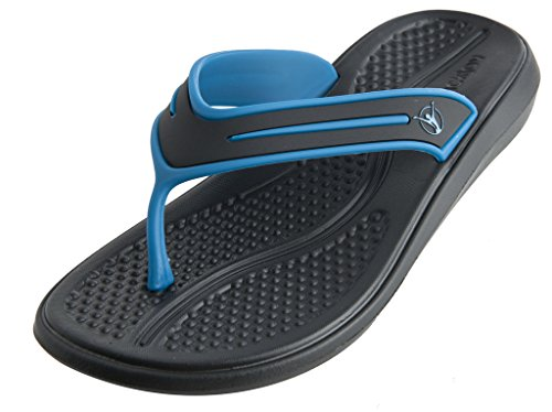 BackJoy StandRight Women's Posture Sandals, Black/Turk Blue, 5
