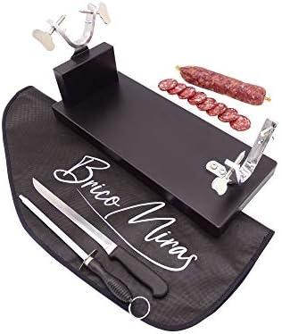 Jamonero Modelo Bodega Lacado Color Wengué, Ideal para cocinas domésticas y profesionales, incluye barra de salchichón, cubrejamón negro, cuchillo y chaira
