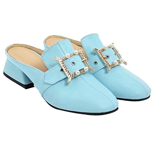 AIYOUMEI Womens Low Heel Mules Slip On Sandals Closed Toe Slippers Blue lK7FN3